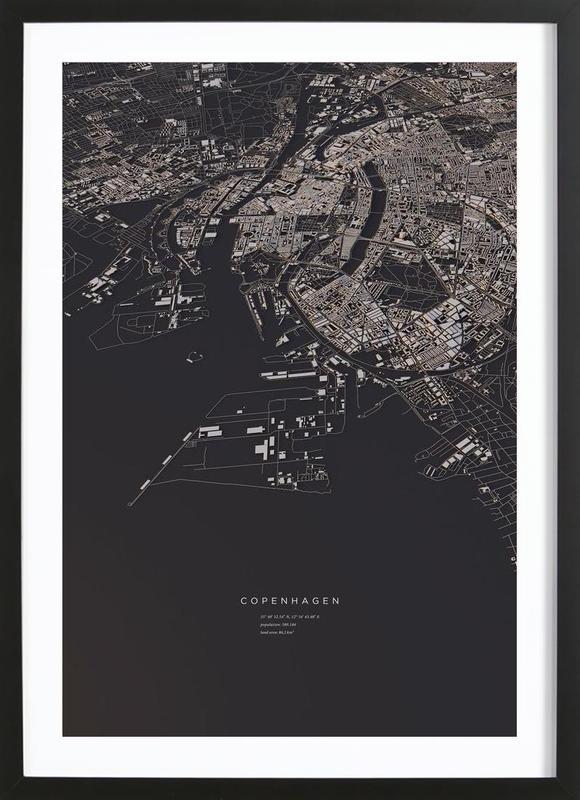 Copenhagen City Map -Bild mit Holzrahmen