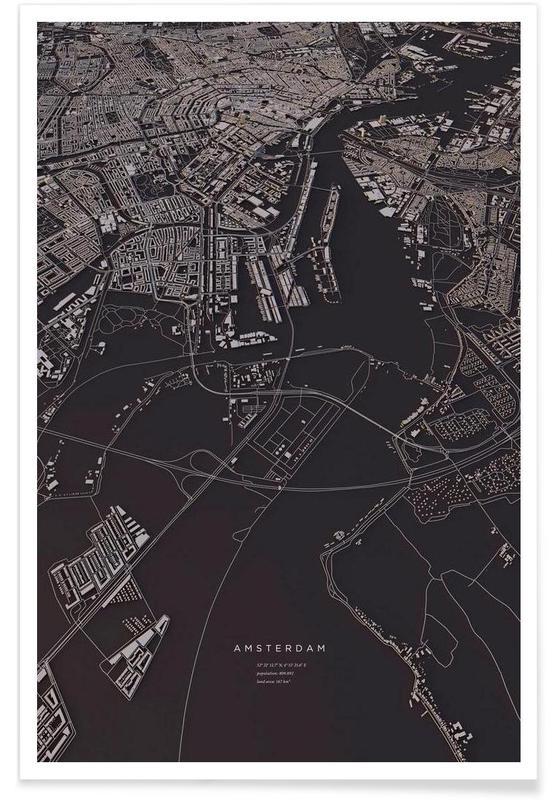 Amsterdam - 3-D kaart poster
