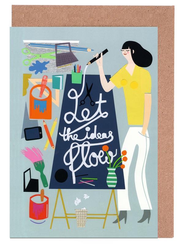 Kinderzimmer & Kunst für Kinder, Let The Ideas Flow -Grußkarten-Set