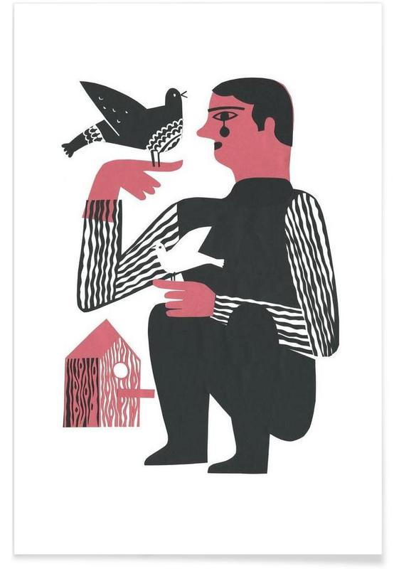 Doves, Man With Birds Poster