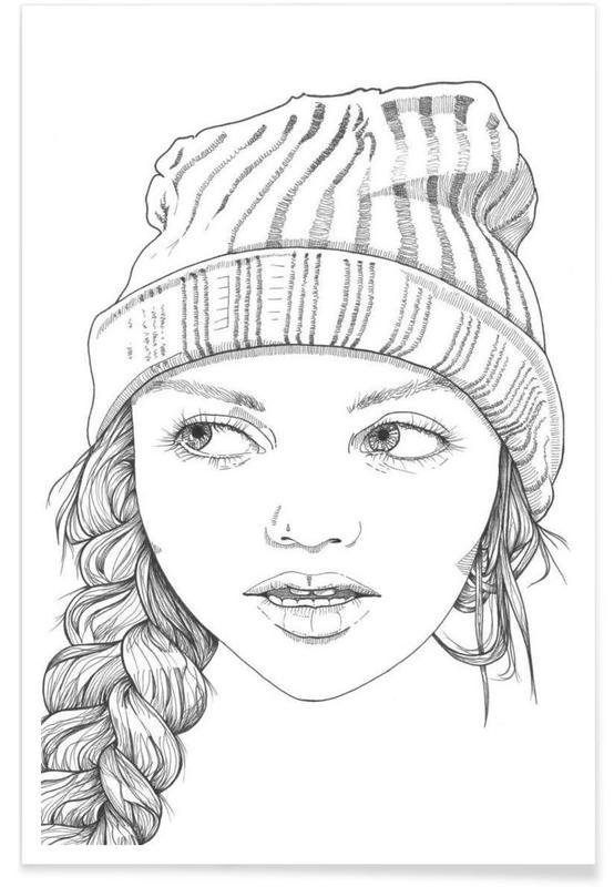 Schwarz & Weiß, Porträts, Beanie Cuteness -Poster