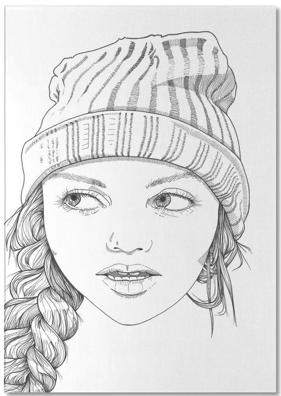 Schwarz & Weiß, Porträts, Beanie Cuteness -Notizblock