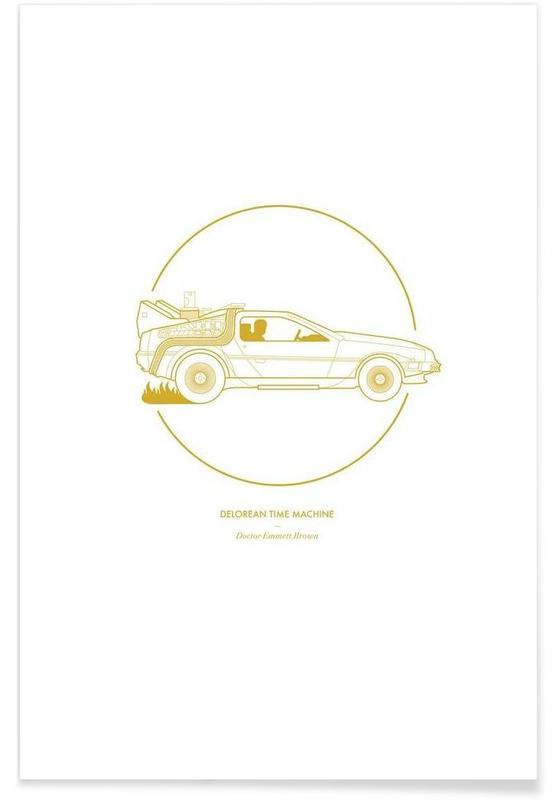 Films, Auto's, Delorean Time Machine - minimalistisch poster