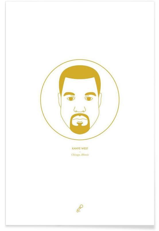 Hip Hop & Rap, Kanye West Minimalist Plakat