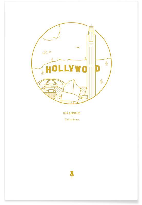 Los Angeles, Sehenswürdigkeiten & Wahrzeichen, Los Angeles – minimalistisch -Poster