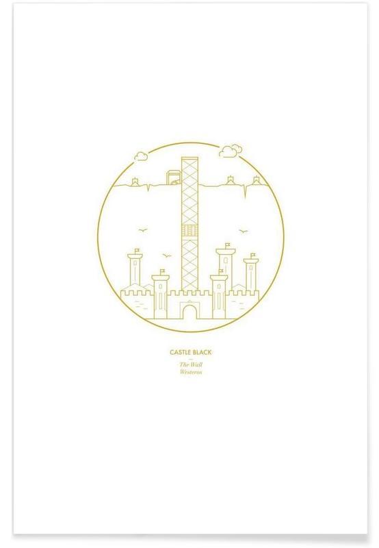 Schwarze Festung – minimalistisch -Poster