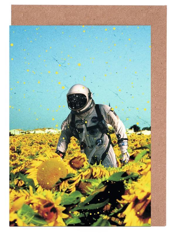 Sonnenblumen, Astronauten, Lost in France -Grußkarten-Set