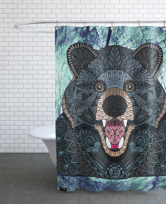 Bären, Ornate Black Bear -Duschvorhang