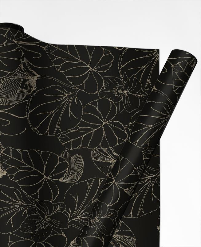 Motifs, Noir & blanc, Flowers papier cadeau