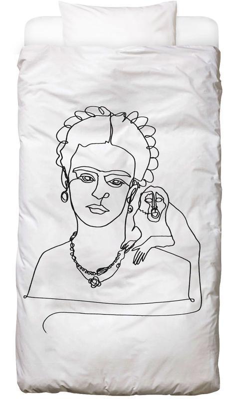 Noir & blanc, Frida Kahlo, Frida And Monkey Linge de lit