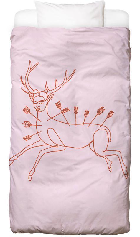 Frida Kahlo, Frida Wounded Deer Pink Linge de lit