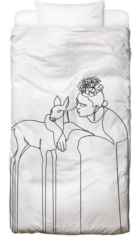 Noir & blanc, Frida Kahlo, Surreal Frida And Deer Linge de lit