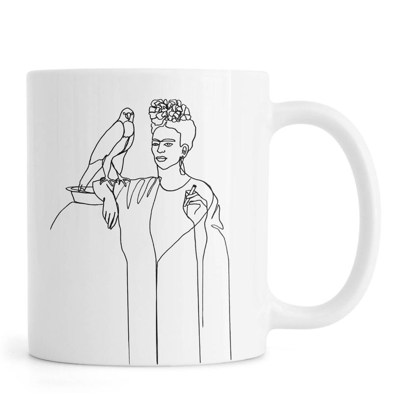 Noir & blanc, Frida Kahlo, Frida And Falcon mug