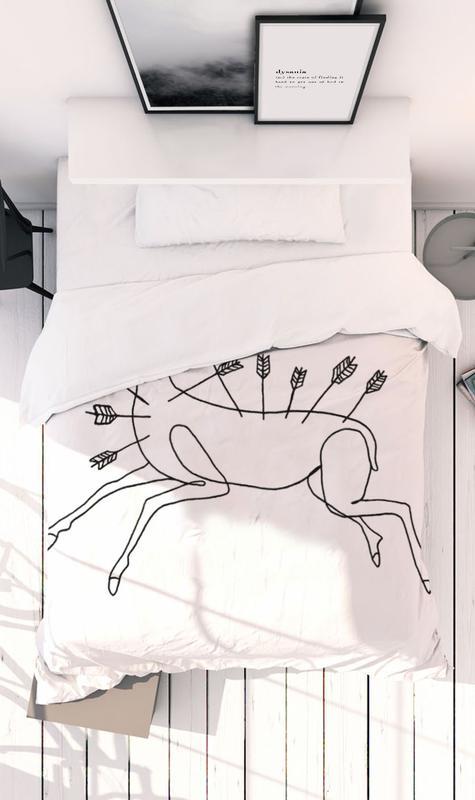 Noir & blanc, Frida Kahlo, Frida Wounded Deer Linge de lit