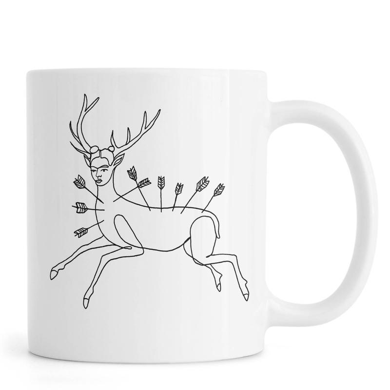 Noir & blanc, Frida Kahlo, Frida Wounded Deer mug