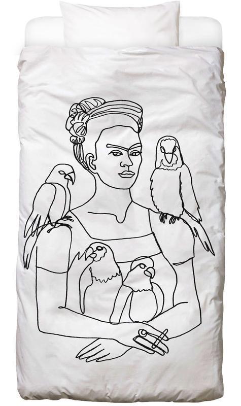 Noir & blanc, Frida Kahlo, Frida And Birds Linge de lit