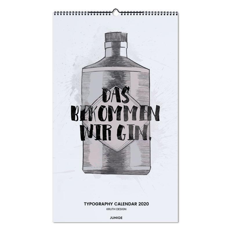 Typography Calendar 2020 - KRUTH DESIGN Wall Calendar