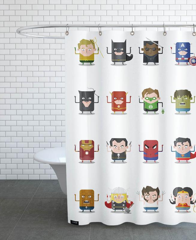 Nursery & Art for Kids, Superheroes Shower Curtain