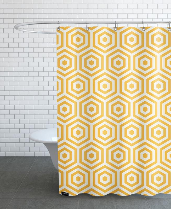 Patterns, Yellow Beehive Shower Curtain
