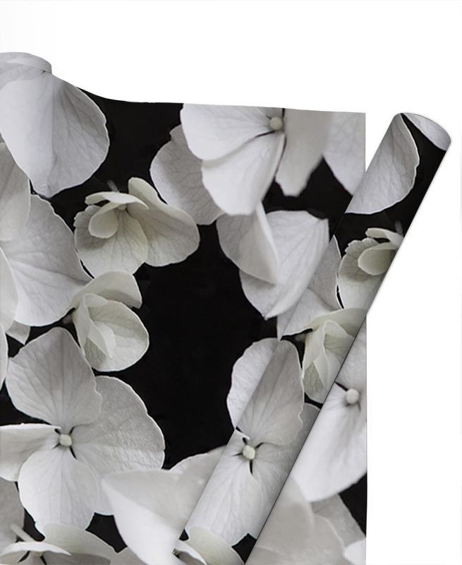 White Beauty On Black Gift Wrap