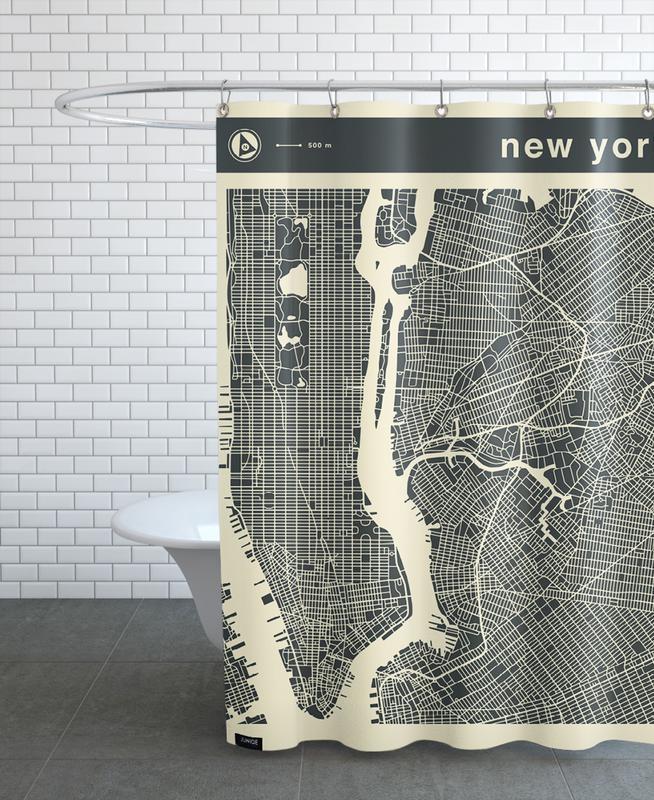 City Maps, New York, City City Maps Series 3s Series 3 - New York Shower Curtain