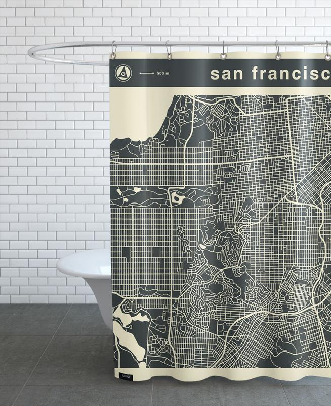 City Maps, San Francisco, City Maps Series 3 Series 3 - San Francicso Shower Curtain