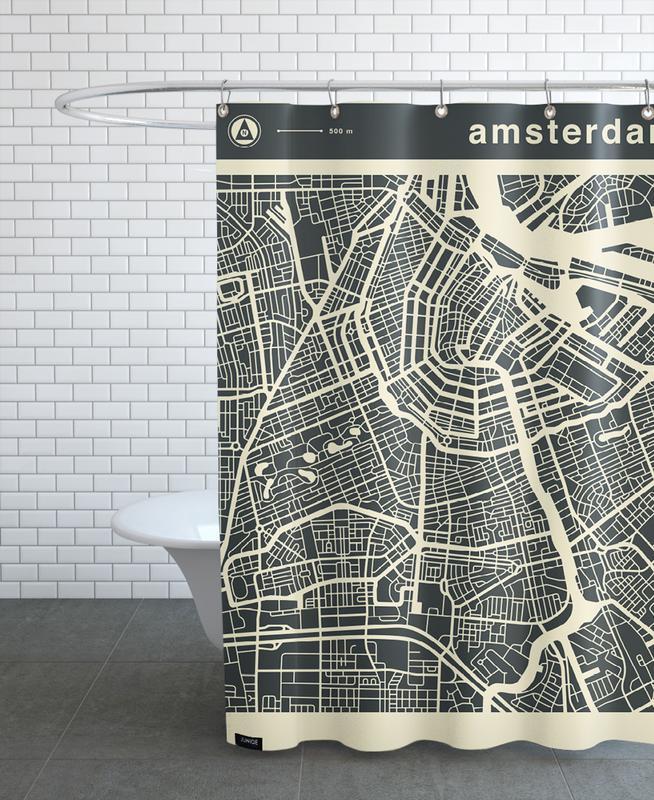 Amsterdam, Cartes de villes, City Maps Series 3 Series 3 - Amsterdam rideau de douche