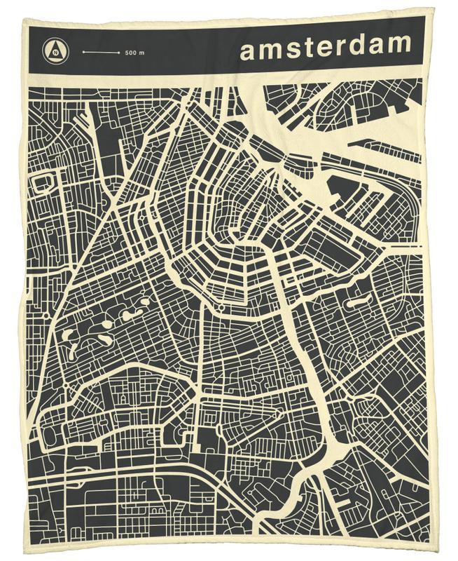 City Maps Series 3 - Amsterdam -Fleecedecke