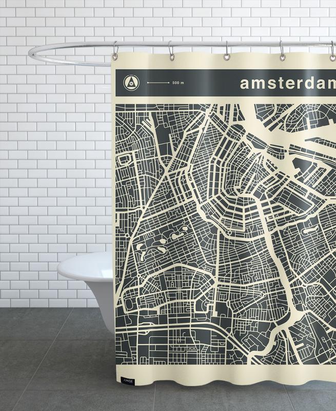 Amsterdam, Cartes de villes, City Maps Series 3 - Amsterdam rideau de douche