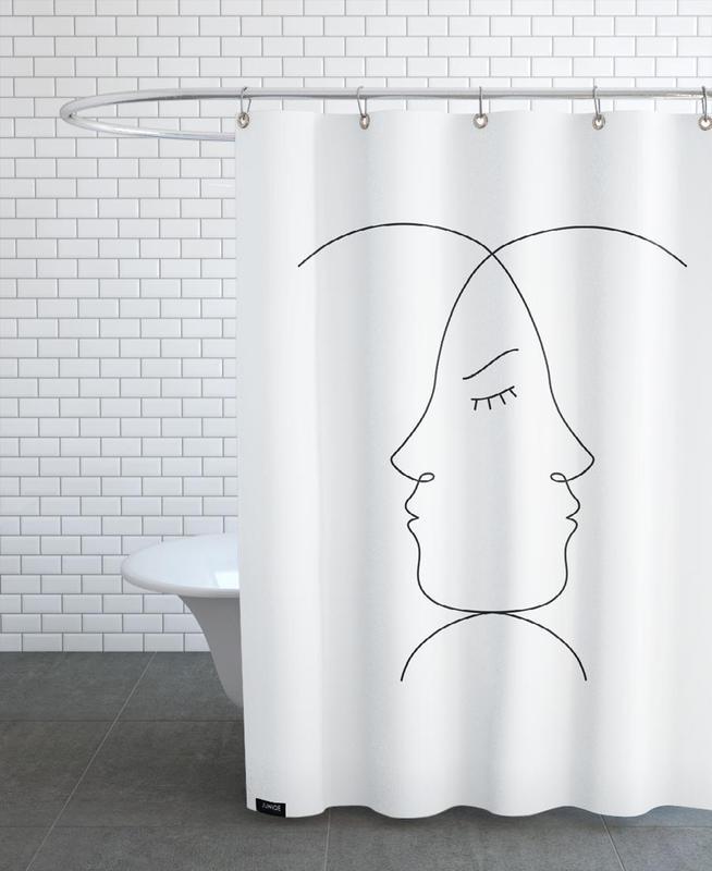 Schwarz & Weiß, Emoticons -Duschvorhang