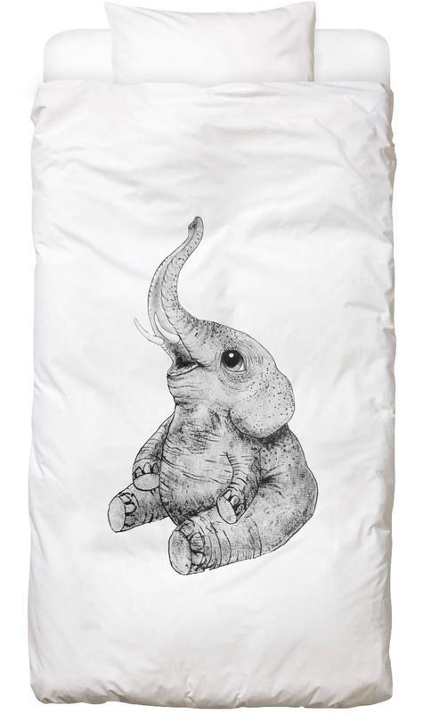 Éléphants, Art pour enfants, Noir & blanc, Elephant housse de couette enfant