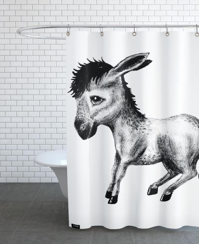 Noir & blanc, Art pour enfants, Donkey rideau de douche