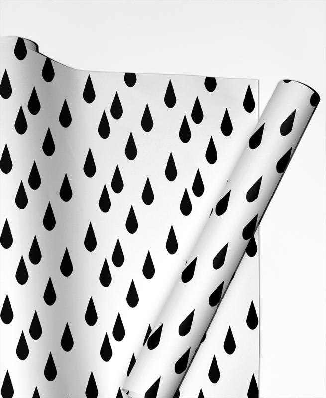 Schwarz & Weiß, Muster, Rain -Geschenkpapier