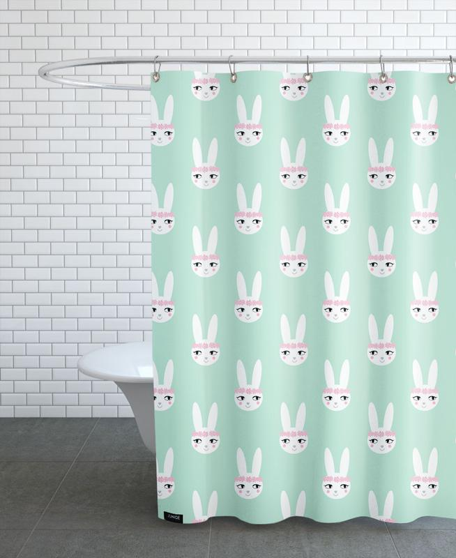 Easter Bunny Mint Shower Curtain