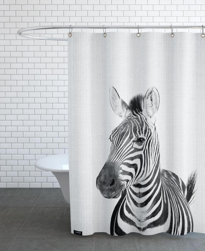 Kinderzimmer & Kunst für Kinder, Schwarz & Weiß, Zebras, Print 49 -Duschvorhang