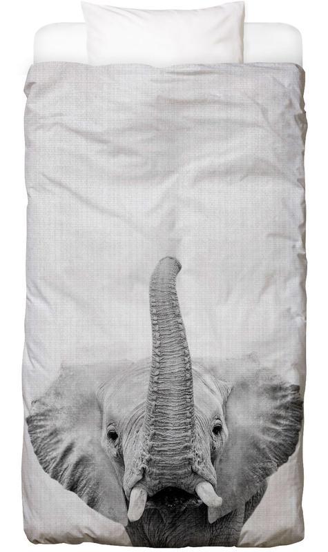 Kinderzimmer & Kunst für Kinder, Elefanten, Schwarz & Weiß, Print 50 Bettwäsche
