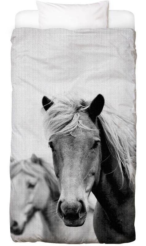 Chevaux, Noir & blanc, Print 180 housse de couette enfant