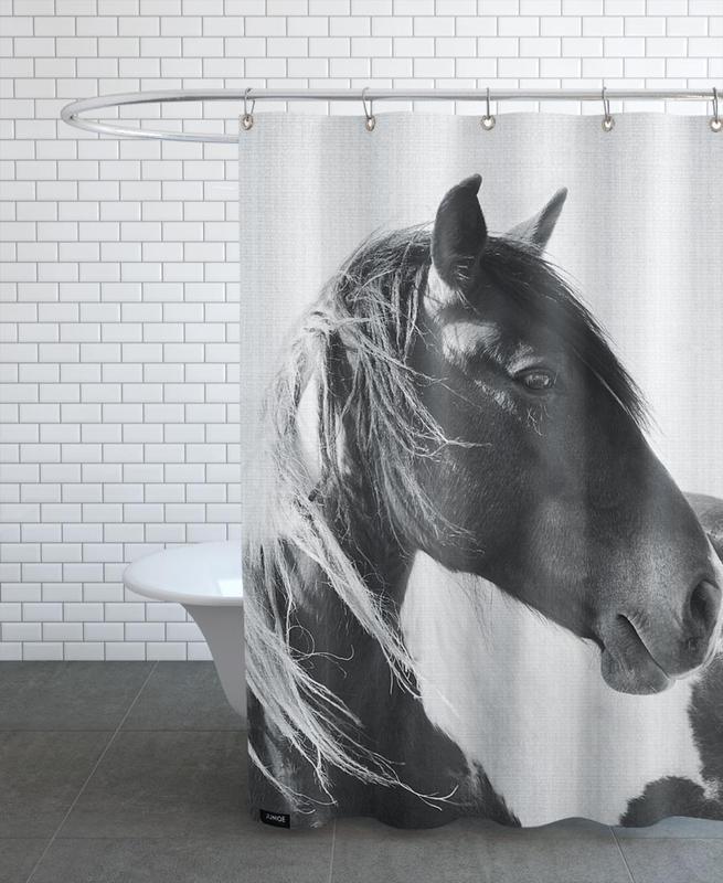 Chevaux, Noir & blanc, Print 181 rideau de douche