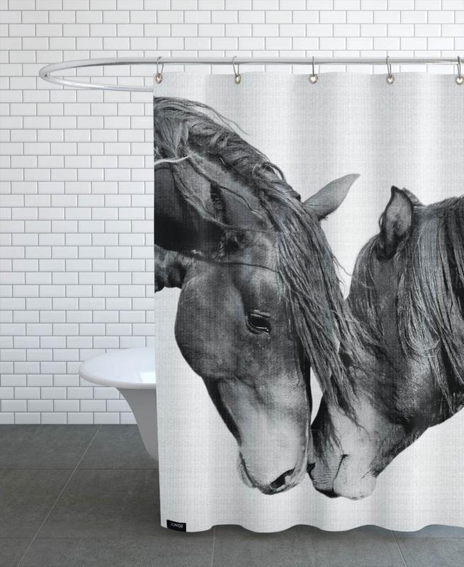 Pferde, Schwarz & Weiß, Print 185 -Duschvorhang