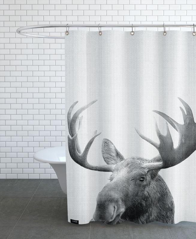 Deer, Black & White, Print 37 Shower Curtain
