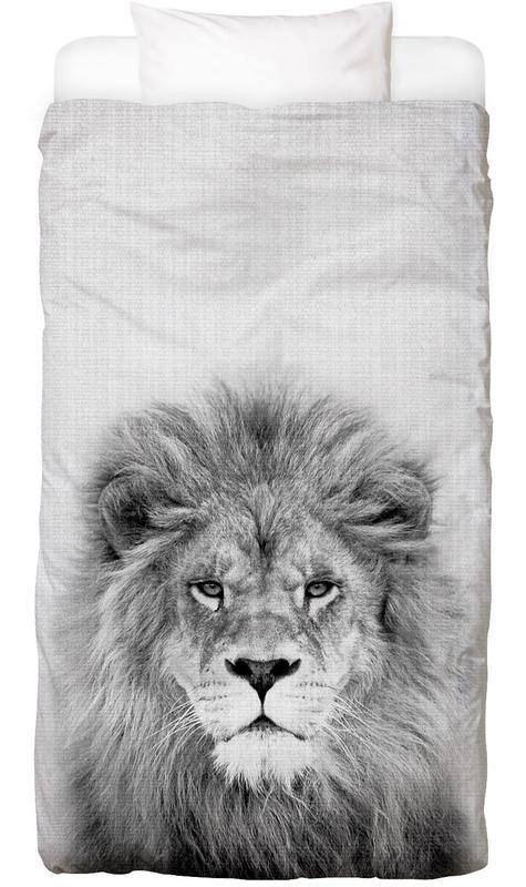 Art pour enfants, Lions, Noir & blanc, Lion Linge de lit