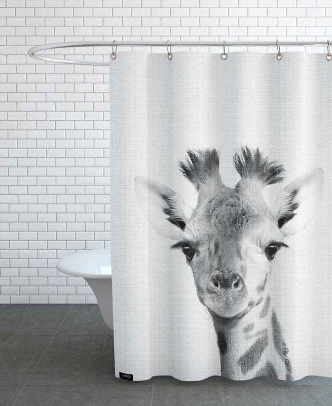 Giraffes, Black & White, Nursery & Art for Kids, Print 40 Shower Curtain