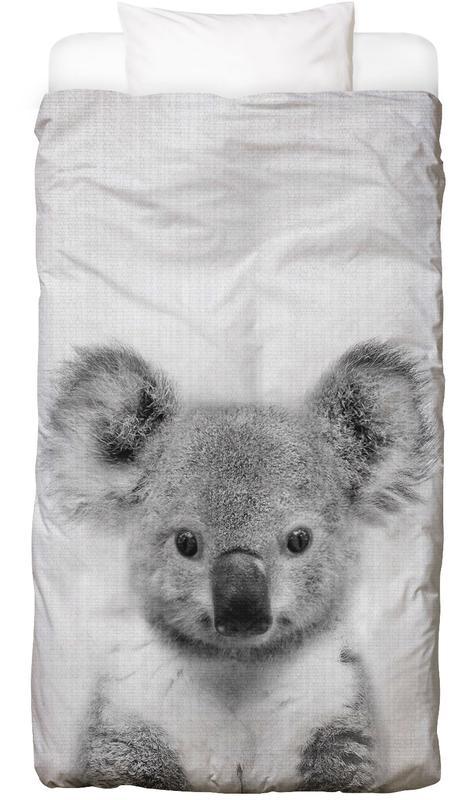 Kinderzimmer & Kunst für Kinder, Schwarz & Weiß, Koalas, Print 67 Bettwäsche