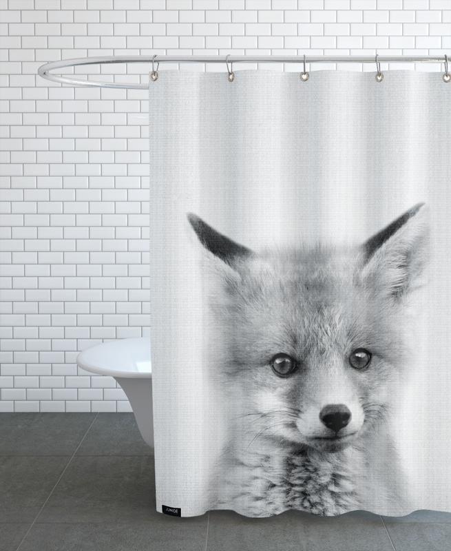 Kinderzimmer & Kunst für Kinder, Füchse, Schwarz & Weiß, Print 70 -Duschvorhang