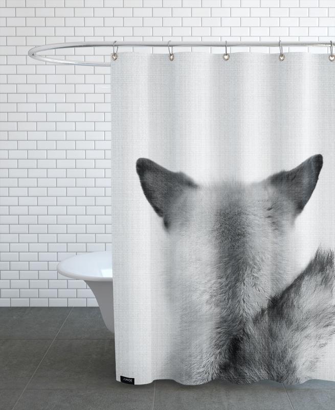 Kinderzimmer & Kunst für Kinder, Füchse, Schwarz & Weiß, Print 293 -Duschvorhang