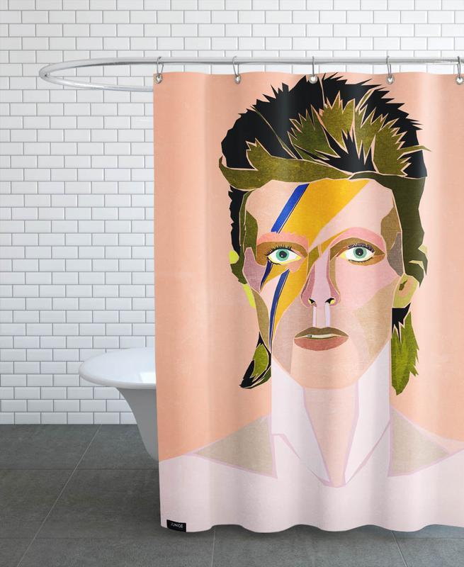 David Bowie Portrait Shower Curtain