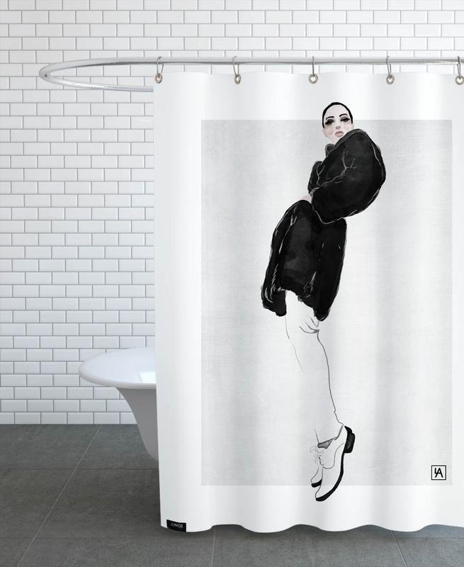 Black & White, Fashion Illustrations, Black Coat Shower Curtain