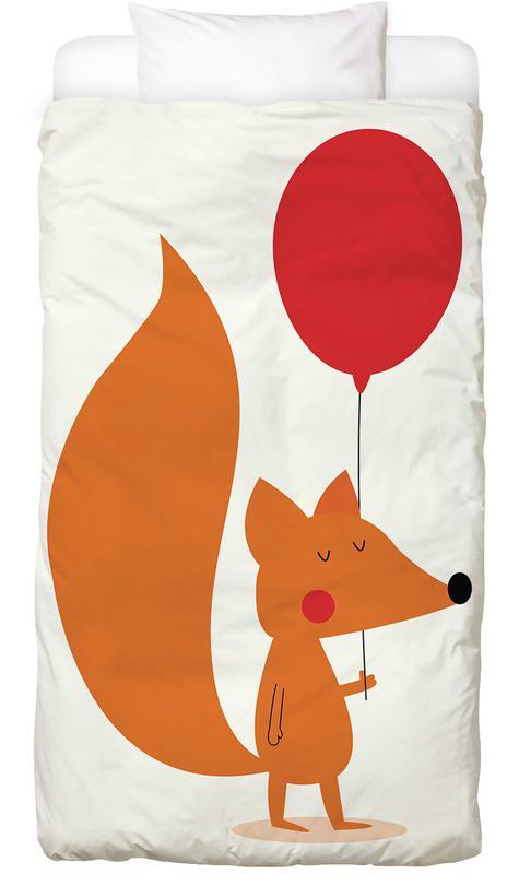 Geburtstage, Kinderzimmer & Kunst für Kinder, Füchse, Glückwünsche, Fox with a Red Balloon Bettwäsche