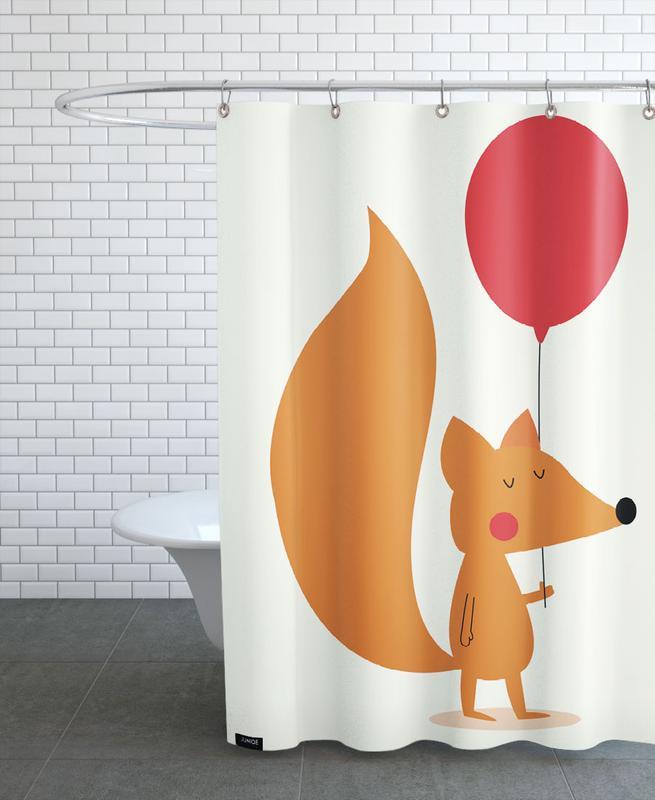 Geburtstage, Kinderzimmer & Kunst für Kinder, Füchse, Glückwünsche, Fox with a Red Balloon -Duschvorhang