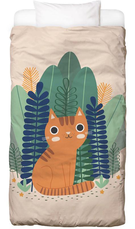 Katzen, Kinderzimmer & Kunst für Kinder, Orange Garden Cat -Kinderbettwäsche